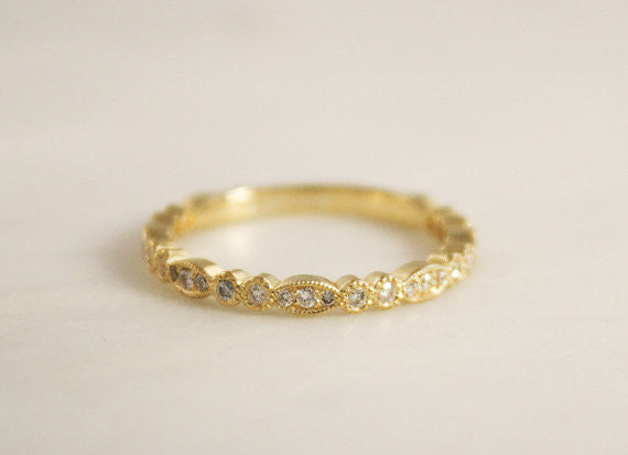 2 mm Milgrained Diamond Eternity Bead Ring in 18K Yellow Gold