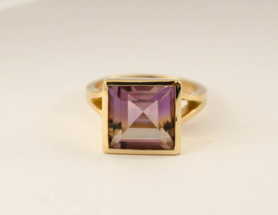 Square Cut Ametrine Bezel Ring in 18K Yellow Gold