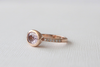 Oval Pink Sapphire Bezel Diamond Ring in 14K Yellow Gold