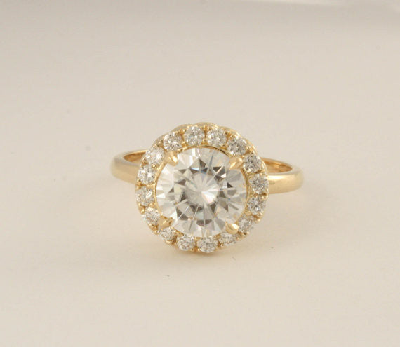 Forever One Moissanite and Diamond Cocktail/Anniversary Ring in 18K Yellow Gold