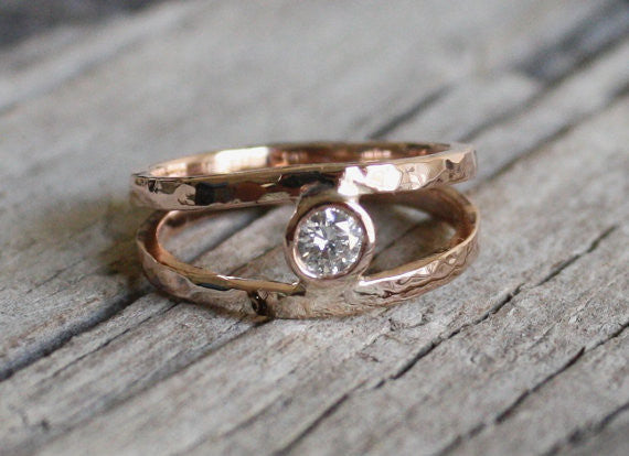 Handmade Diamond Engagement Ring - Solid 14k Rose Gold - Dual Band Solitaire Ring