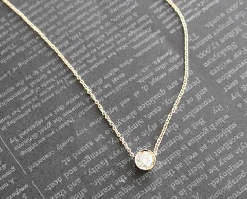 0.35 Ct. Solitaire Bezel Diamond Necklace in 14K Yellow Gold