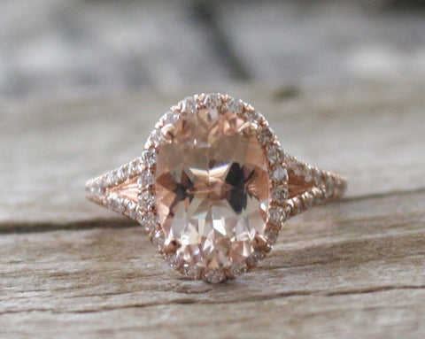 Oval Morganite Split Shank Diamond Engagement Ring in 14K Rose Gold
