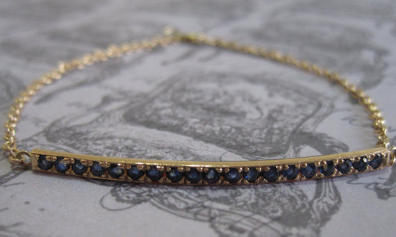 Cornflower Blue Sapphire Bar Bracelet in 14K Solid Gold