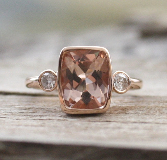3 Stone Rectangular Cushion Morganite and Diamond Ring in 14K Rose Gold