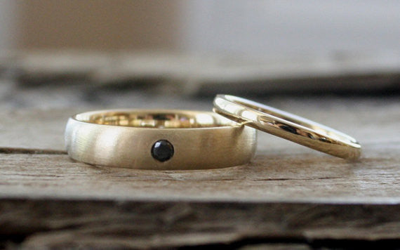 Handmade Black Diamond Wedding Band Set in 14K Yellow Gold