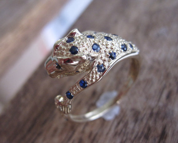 Gold Panther Sapphire Ring in 14K Solid Gold