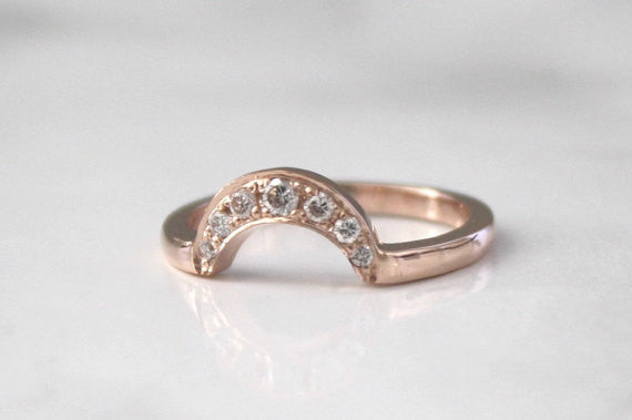 Handmade Crescent Style Curved Stacking Band in 14K Rose Gold