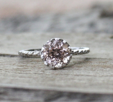 1.20 Cts. Solitaire Peachy Pink Cor-de-Rosa Morganite Twist Ring in 14K White Gold