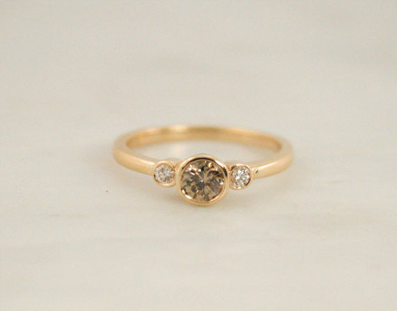 ON HOLD - 3 Stone Matte Finish Champagne Diamond Bezel Ring in 18K Yellow Gold