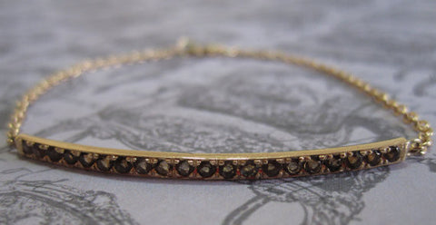 Smoky Topaz Bar Bracelet in 14K Gold