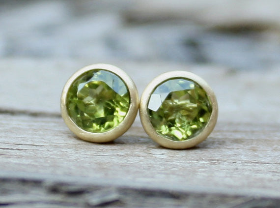 7mm Peridot Martini Earrings in 14K Yellow Gold