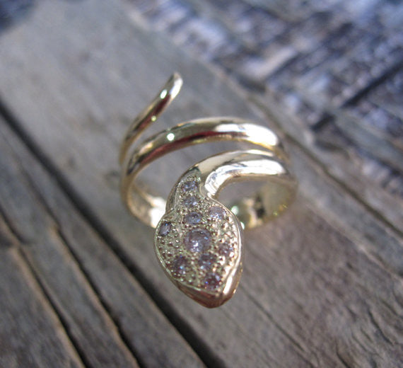Pave Set Diamond Head Coiled Ring in 14K Solid Gold