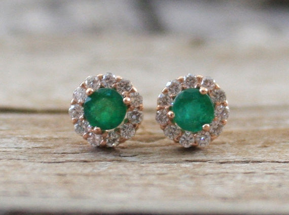 Colombian Emerald Diamond Halo Stud Earrings in 14K Rose Gold