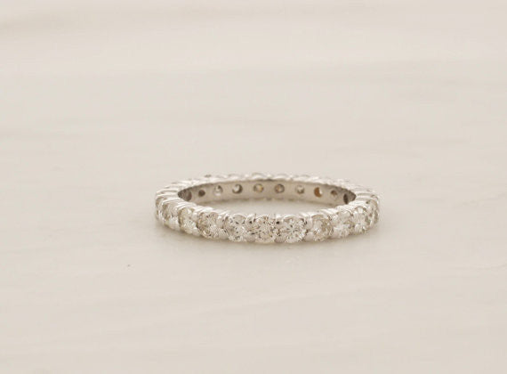 2.7mm Handmade Full Eternity Diamond Stacking Ring in 14K White Gold