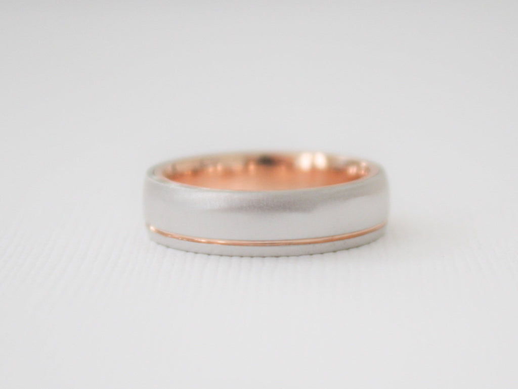 14K 2-Tone Grooved Rose And White Gold Wedding Band