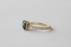 Round Blue Green Sapphire Solitaire Milgrained Diamond Ring in 14K Yellow Gold