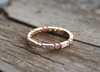 Baguette & Round Diamond Milgrain Bezel Eternity Ring in 14K Rose Gold
