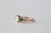 Rose Cut White Sapphire and Emerald 3-Stone Ring in 14K Rose Gold