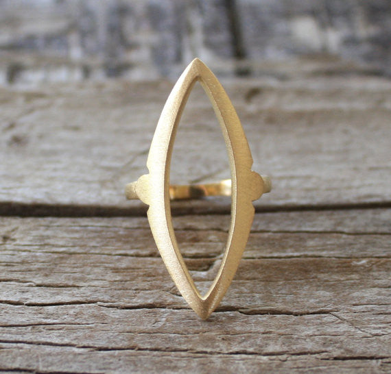 18K Solid Gold Almond Marquise Shaped Statement Ring