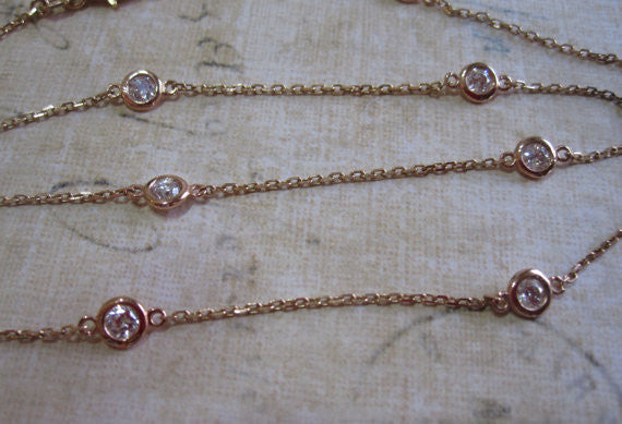 Diamonds By The Yard Bezel Necklace in 14K Rose Gold