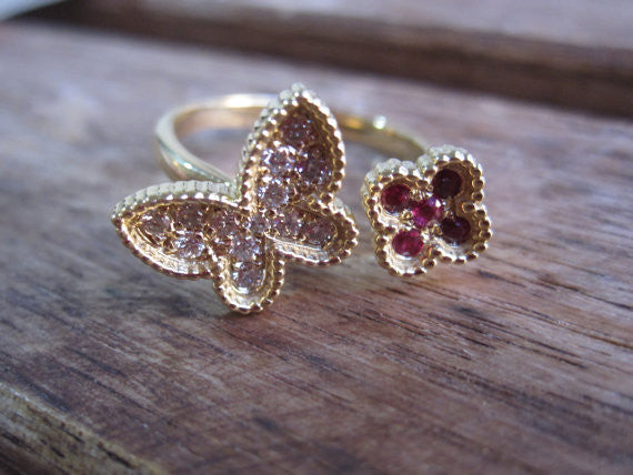 Monarch Butterfly and Flower Ring in 14K Solid Gold