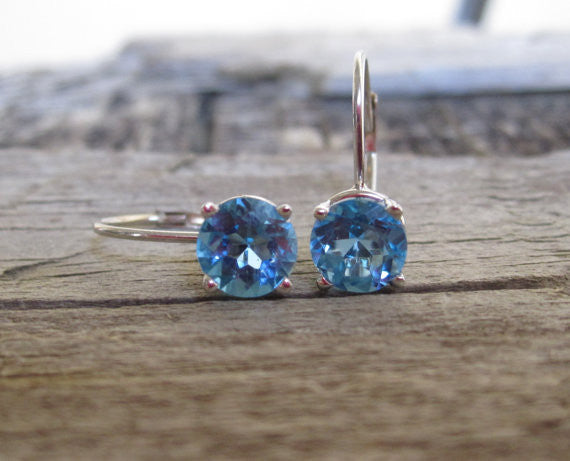 Swiss Blue Topaz Leverback Earrings in 14K Gold