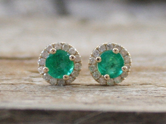 Colombian Emerald Diamond Halo Stud Earrings in 14K Yellow Gold