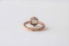 Rose Cut White Sapphire and Hexagon Solitaire Bead Ring in 14K  Rose Gold