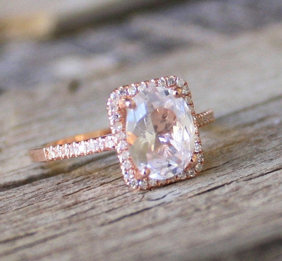 2.20 Cts. Cushion White Sapphire Diamond Halo Engagement Ring in 14K Rose Gold