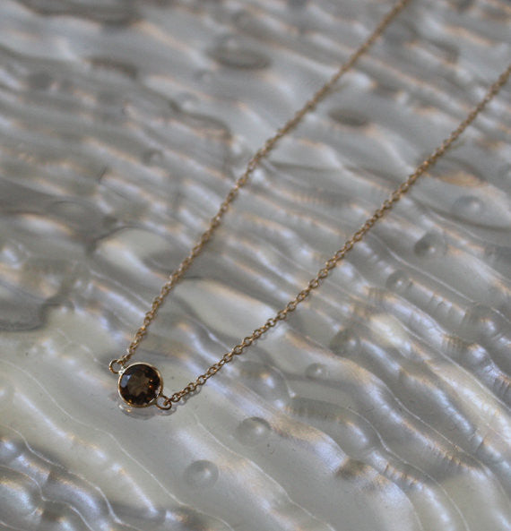 Bezel Set Smoky Topaz Necklace in 14K Gold