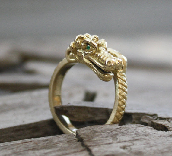 18K Solid Gold Emerald Eyes Dragon Ring