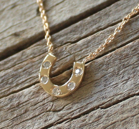 Lucky Horseshoe Handmade Necklace in 14K Gold