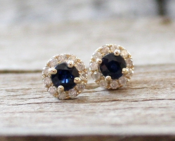 Cornflower Blue Sapphire Diamond Halo Earrings in 14K Yellow Gold