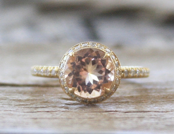 Round Peach Champagne Morganite Diamond Engagement Ring in 14K Yellow Gold