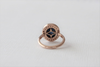 Oval Sapphire Cabochon Diamond Bezel Halo Ring in 14K Rose Gold