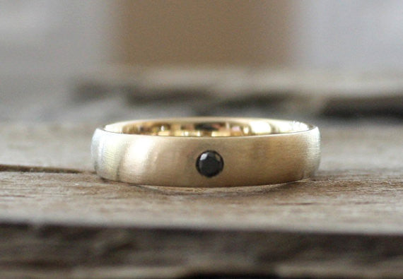 5 mm Solid Gold Black Diamond Men's Band in 14K Yellow Gold