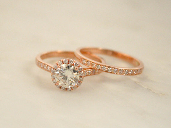 SET - Forever One Moissanite Diamond Halo Ring and Wedding Band in 14K Rose Gold