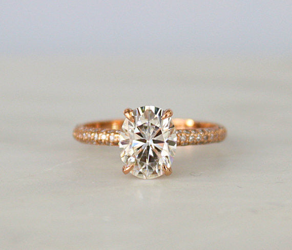 Oval Forever One Moissanite Solitaire Diamond Engagement Ring in 14K Rose Gold