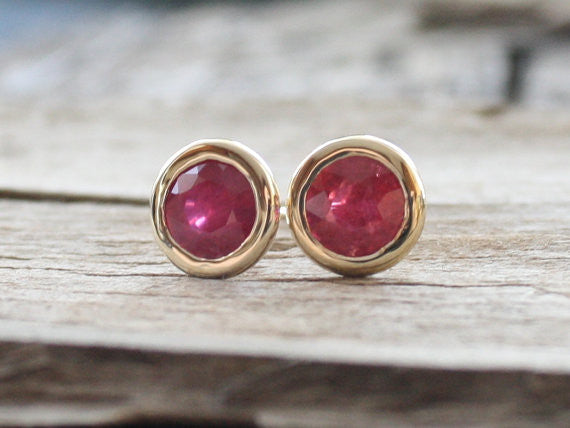 2.50 Cts. Ruby Bezel Stud Martini Earrings in 14K Gold