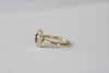 Round Brilliant Cut Sapphire Bezel Diamond Halo Ring in 14K Yellow Gold