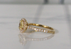 Yellow Champagne Sapphire Cushion Halo Diamond Engagement in 14K Yellow Gold
