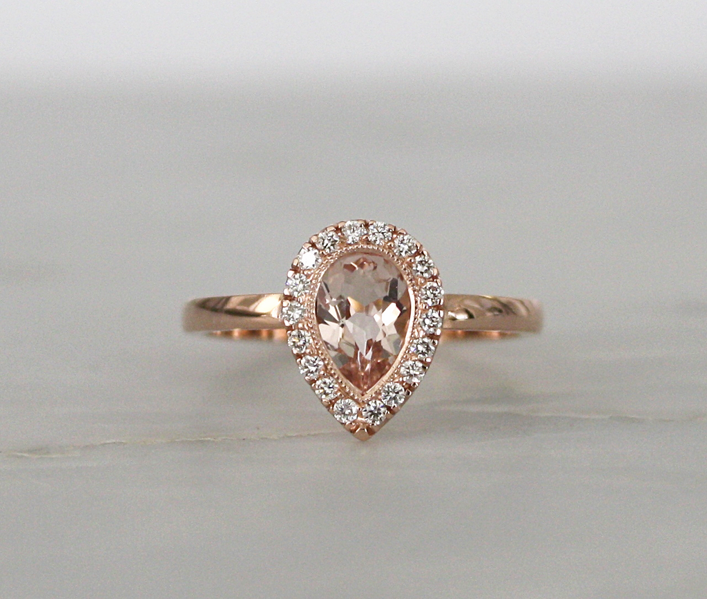 Pear Cut Morganite Diamond Halo Engagement Ring in 14K Rose Gold