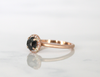 Rose Cut Black Diamond Halo Ring in 14K Rose Gold