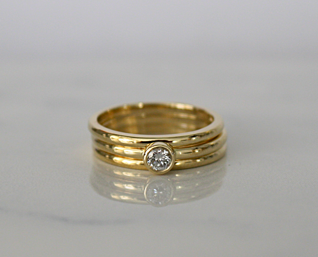 SET - Handmade Diamond Stack Rings in 14K Solid Rose Gold - 100% Natural Diamond