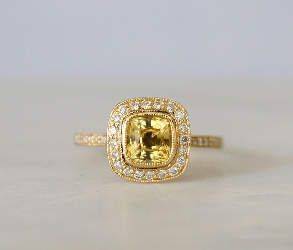 1.20 Cts. Light Yellow Champagne Sapphire Diamond Engagement Ring in 14K Gold