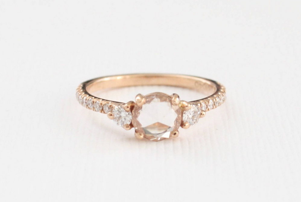 Rose Cut White Sapphire and Diamond Ring in 14K Rose Gold