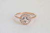 Morganite Diamond Halo Engagement Ring in 14K Rose Gold