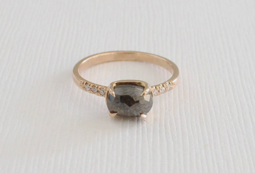 Cushion Rose Cut Black Diamond Solitaire Stacking Ring in 14K Rose Gold