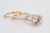 SET - 3 Ring Cushion Halo White Sapphire Diamond Engagement in 14K Rose Gold